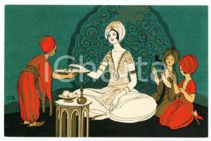 1920 ca RED STAR LINE Arab scene - Woman and servants - Original old postcard