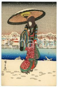 1910 ca JAPAN Artist HIROSHIGE Snow scene at Shinobazu Pond in Ueno - Postcard
