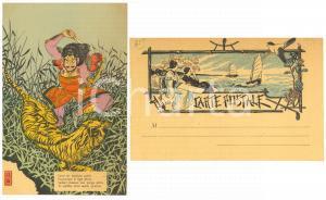 1900 ca JAPON NIPPON Vaillant chasseur poursuivant la tigre *Carte postale