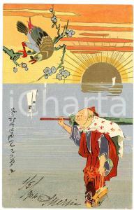 1904 JAPAN Man with umbrella - Lithographed old postcard