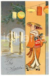 1904 JAPAN Woman in her kimono - Lithographed old postcard