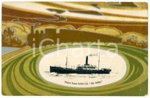 1920 ca JAPAN NYK Nippon Yusen Kaisha - S.S. AKI MARU *Postcard ship train
