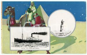 1925 JAPAN Nippon Yusen Kaisha S.S. KASHIMA MARU - Statue Lessep SUEZ *Postcard
