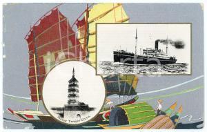 1920 ca JAPAN Nippon Yusen Kaisha S.S. ATSUTA MARU Inking Temple China *Postcard