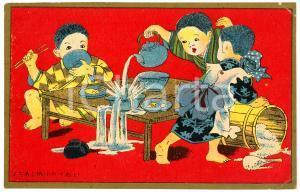 1910 ca JAPAN Tea ceremony - Spilling tea - Illustrated old postcard