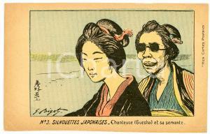 1910 ca Artist Georges BIGOT - Silhouettes Japonaises - Geisha et servante n° 3