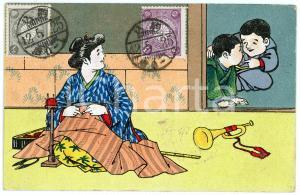 1909 JAPAN CUSTOMS Seamstress with children - Illustrated embossed postcard