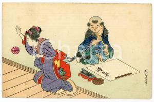 1910 ca JAPAN CUSTOMS  Man with calligraphy brush - Woman with ball - Postcard