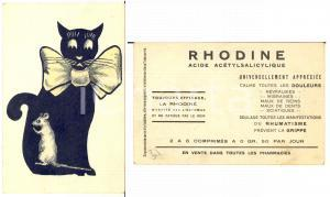 1910 ca ANIMALS Cat and mouse - Old luminous postcard adv RHODINE