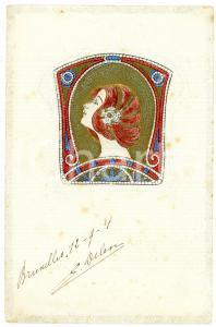 1904 ART NOUVEAU Head of a lady - Mosaic - Illustrated embossed postcard