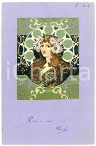 1903 ART NOUVEAU Lady with crown of daisies - Embossed postcard