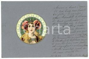 1903 ART NOUVEAU Blonde woman with floral crown - Embossed postcard