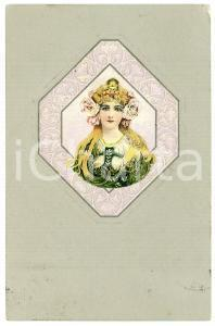 1902 ART NOUVEAU Blonde woman - Silver - Illustrated embossed postcard (2)