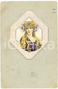 1902 ART NOUVEAU Blonde woman - Silver - Illustrated embossed postcard