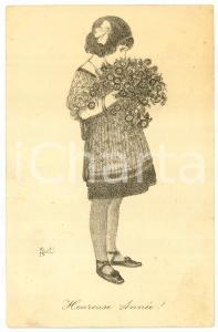 1921 HEUREUSE ANNÉE Little girl with flowers - Ill. by Karel VAN BELLE Postcard