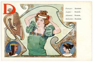 1900 ca ART NOUVEAU - Alphabet - Lettre D Diadème - Carte postale Louis TITZ