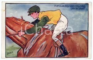 1909 POPULAR RACING COLOURS Mr. W. BASS Jockey ILLUSTRATED Postcard FP VG