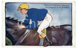 1909 POPULAR RACING COLOURS Leopold DE ROTHSCHILD Jockey ILLUSTRATED Postcard FP