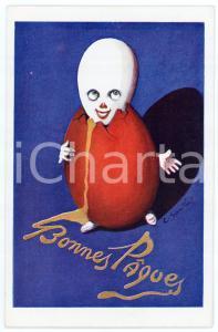 1920 ca BONNES PAQUES Anthropomorphic egg - Artist C. SANTINI - Postcard