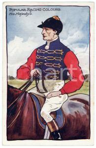 1909 POPULAR RACING COLOURS His Majesty's - Jockey ILLUSTRATED Postcard FP