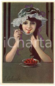 1920 Artist E. COLOMBO - Girl eating cherries - Old postcard