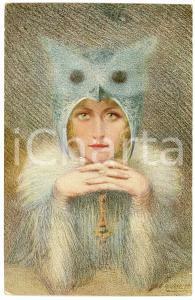 1910 ca Artist E. ROUSSELET - L'oiseau de nuit - Old postcard