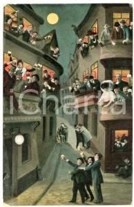 1911 HUMOUR Drunk men and women partying on the street - Postcard FP VG