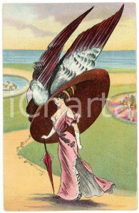 1909 FRANCE - HUMOUR Woman with giant hat ILLUSTRATED Postcard FP VG