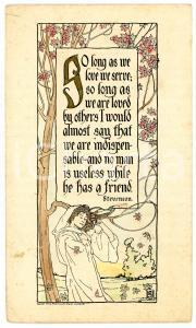 1910 ca THE VALUE OF A FRIEND Poem by Robert Louis STEVENSON Postcard FP VG