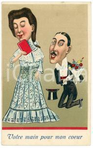 1920ca FRANCE - HUMOUR Votre main pour mon coeur - Embossed postcard FP NV