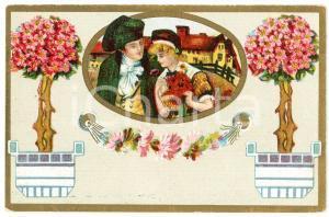 1910 ca Romantic couple - Flowers (2) Vintage postcard advertising Dr. VERHILLE