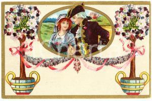1910 ca Romantic couple - Flowers (4) Vintage postcard advertising Dr. VERHILLE