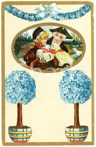 1910 ca Romantic couple - Flowers (3) Vintage postcard advertising Dr. VERHILLE