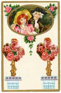 1910 ca Romantic couple - Flowers (1) Vintage postcard advertising Dr. VERHILLE