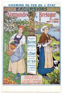 1910 ca CHEMIN DE FER DE L'ÉTAT Excursions NORMANDIE - BRETAGNE Carte postale