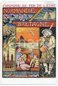 1910 ca CHEMIN DE FER DE L'ÉTAT Normandie - Bretagne - Carte postale FP NV