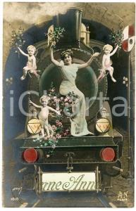1911 BONNE ANNEE Muse on train with children - Fairy tale - Embossed postcard
