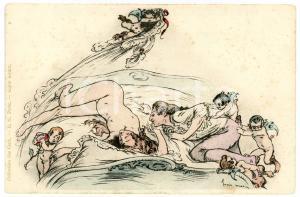 1900 ca VINTAGE EROTIC Artist Henry MORIN - Seducer - Vintage postcard