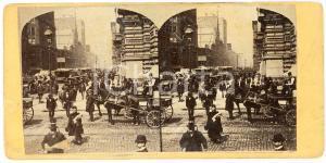 1910 ca LIEGE (BELGIQUE) Une rue très fréquentée - Old ANIMATED Stereoview