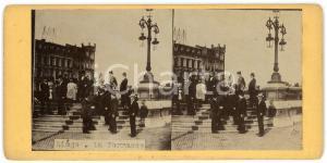 1910 ca LIEGE (BELGIQUE) La Terrasse - Old ANIMATED Stereoview