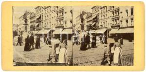 1910 ca LIEGE Rue Vinâve d'Ile et fontaine de la Vierge - ANIMATED Stereoview