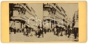1910 ca LIEGE (BELGIQUE) Rue Pont d'Avroy - ANIMATED old stereoview