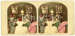 1900 ca DAILY LIFE - ENGLAND - A family breakfast - Coloured Vintage Stereoview