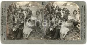 1910 PUNTA ARENAS (CHILE) Indians on the Straight of Magellan DAMAGED Stereoview