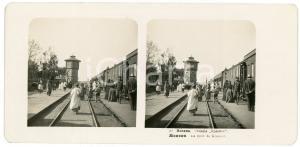1905 MOSCOW (RUSSIA) La gare de Krasnoe - Stereoview STEGLITZ ANIMATED train