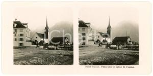 1910 ca FLUELEN (SUISSE) Panorama et Eglise - Stereoview ANIMATED carriages