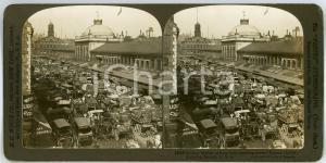 1900 BOSTON (USA) Quincy Market, a busy early morning scene *ANIMATED Stereoview