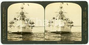 1901 USA Bow view of Cruiser OLYMPIA - Stereoview H. C. WHITE 7405