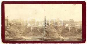1905 ca ENGLAND View of a village - Vintage Stereoview