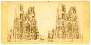 1910 ca BRUXELLES Cathedrale St-Michel et Ste-Gudule  - Vintage Stereoview FRITZ